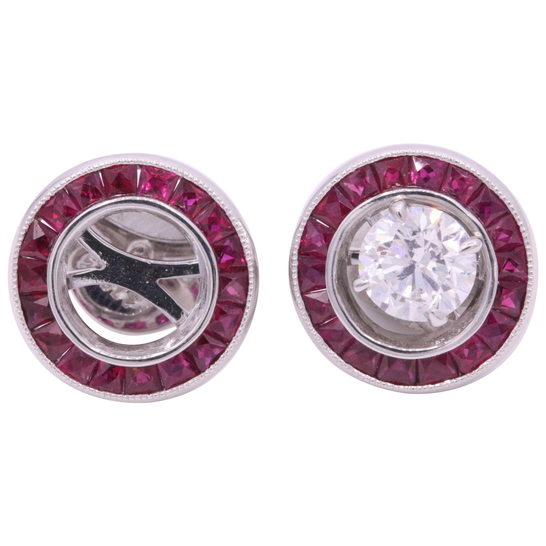 Ruby Diamond Bezel Set Earring 1.20 Carat Platinum