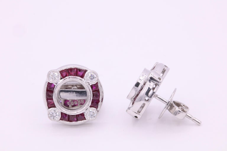 Art Deco Ruby Diamond Bezel Set Earrings 1.72 Carat Platinum For Sale