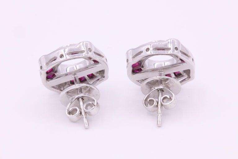 Round Cut Ruby Diamond Bezel Set Earrings 1.72 Carat Platinum For Sale