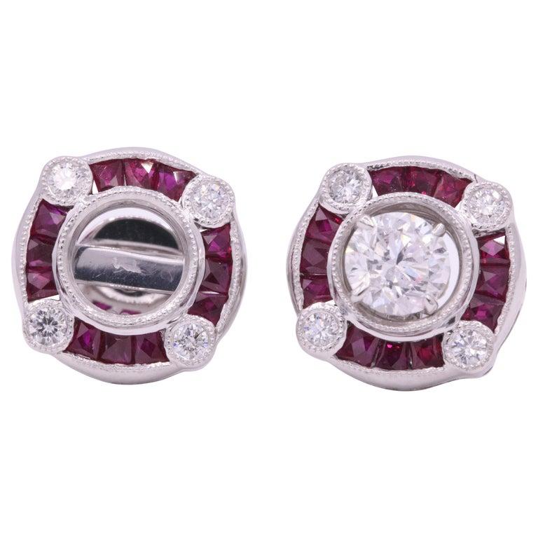 Ruby Diamond Bezel Set Earrings 1.72 Carat Platinum For Sale