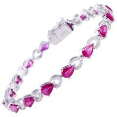 Ruby Diamond Bracelet in 18 Karat White Gold Weighing 11.89 Grams in 0.65 Carat