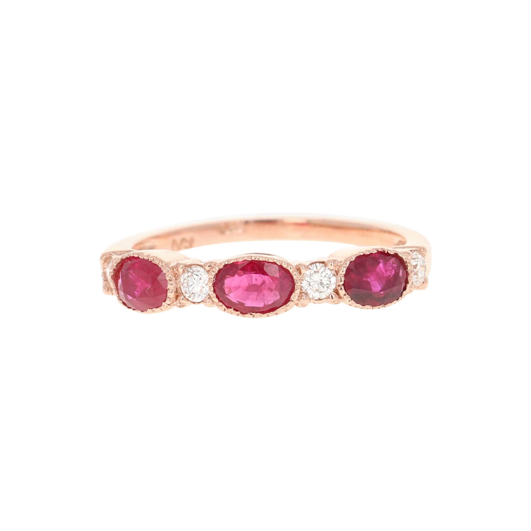 Ruby Diamond Bridal Band 14 Karat Rose Gold