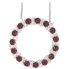 Ruby Diamond Circle Pendant Necklace 3.89 Carat
