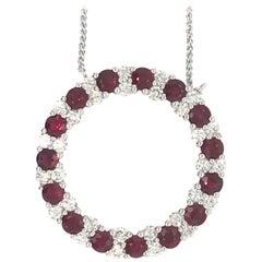 Ruby Diamond Circle Pendant Necklace 3.89 Carat