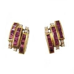 Ruby Diamond Clip-On Earrings