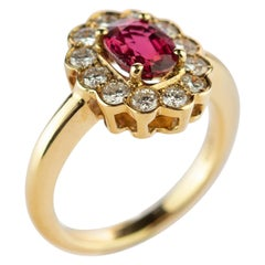 Ruby Diamond Cluster 18 Karat Yellow Gold Solitaire Bridal AIG Certified Ring