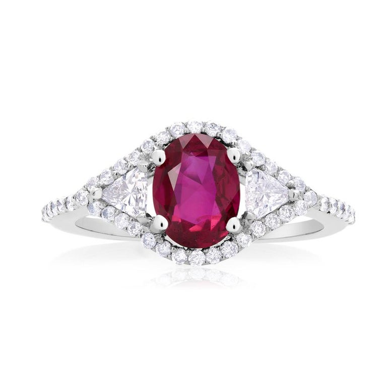 Cushion Cut Cushion Ruby and Diamond Cluster Cocktail Ring Weighing 1.86 Carat For Sale