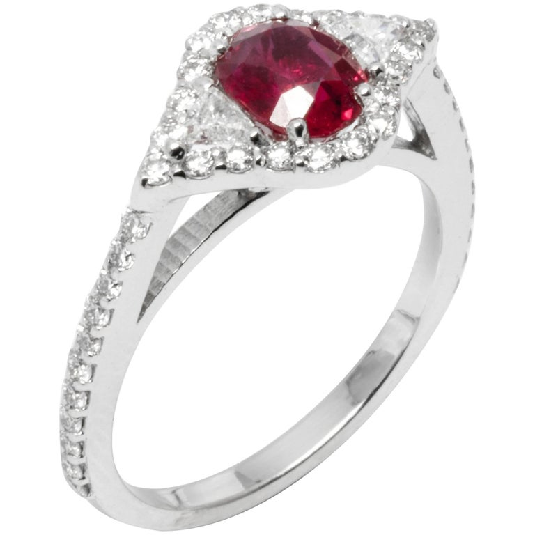 Cushion Ruby and Diamond Cluster Cocktail Ring Weighing 1.86 Carat For Sale