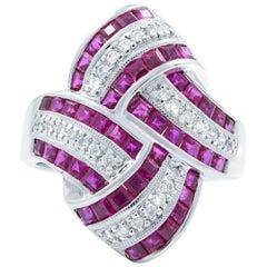 Ruby Diamond Cluster Statement 2.46 Carat Ring 18 Karat White