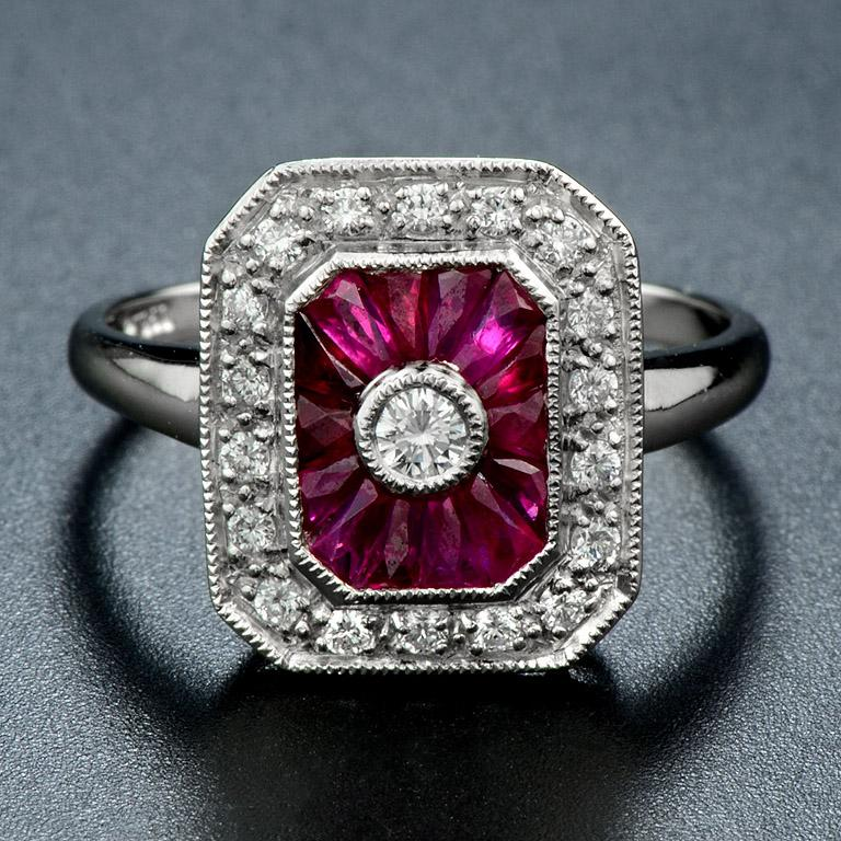 ***Art Deco Design Ring*** Center Diamond (G Color VS Clarity) is 0.07 Carat  French Cut Natural Ruby 14 pieces 1.54 Carat., we will do the stone cutting for each ring (one by one). Surrounding with Diamonds 18 pieces 0.18 Carat.  The ring was made