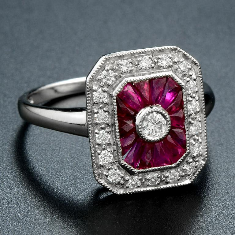 Art Deco Ruby Diamond Cocktail Ring For Sale