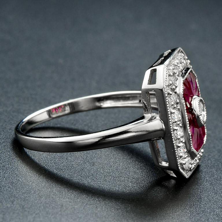 French Cut Ruby Diamond Cocktail Ring For Sale