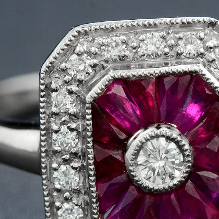 Women's Ruby Diamond Cocktail Ring For Sale