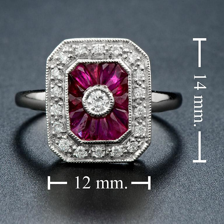 Ruby Diamond Cocktail Ring For Sale 1