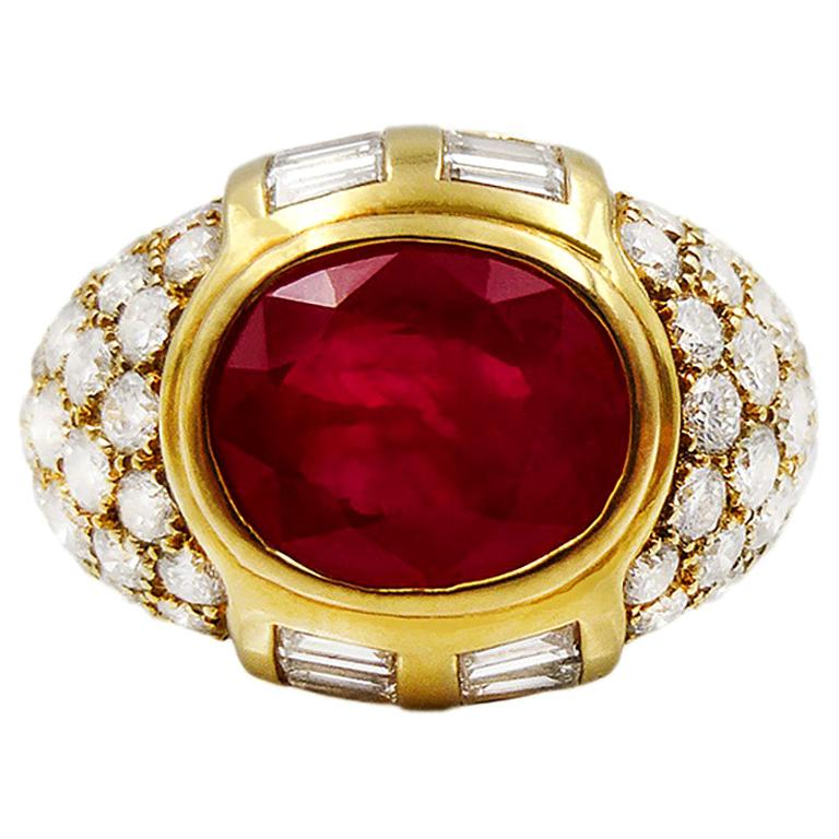 GRS Certified 4 Carat Ruby Diamond Cocktail Ring