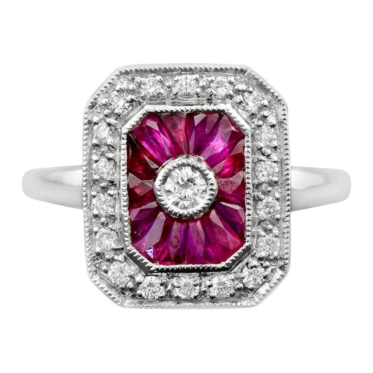 Ruby Diamond Cocktail Ring For Sale