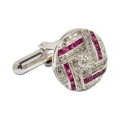Ruby and Diamond Cufflinks, 750 White Gold