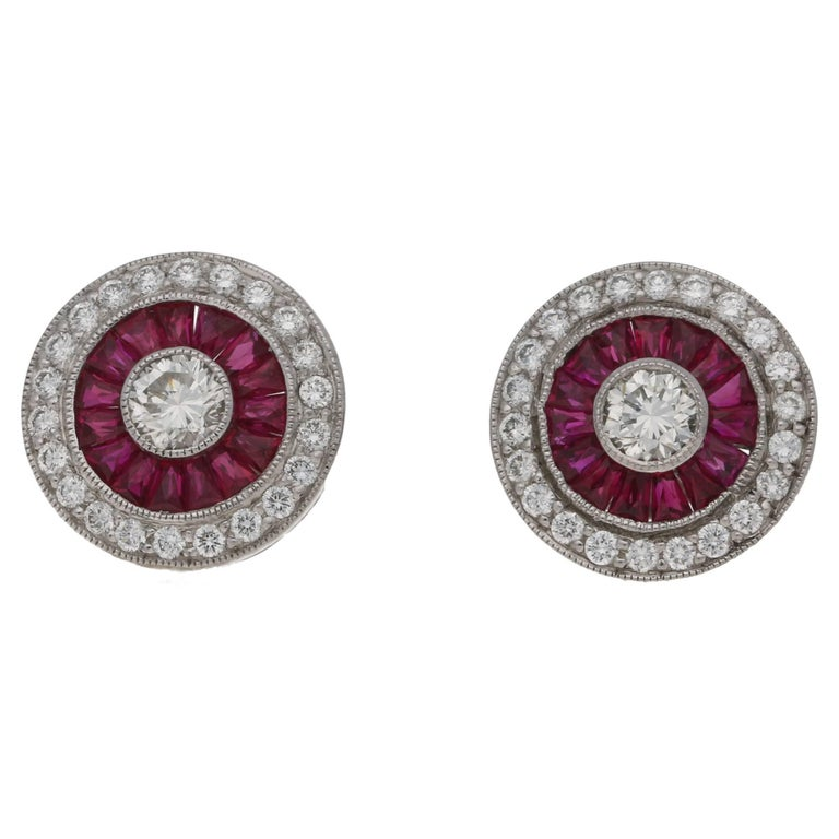 Ruby Diamond Deco Style Target Stud Earrings