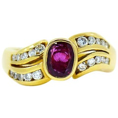 Ruby & Diamond Designer Ring in 18 Karat Yellow Gold by Assor Gioielli