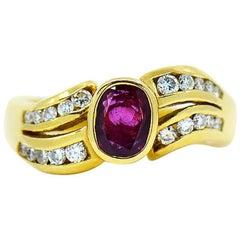 Ruby & Diamond Designer Ring in 18 Karat Yellow Gold by Assor Gioielli