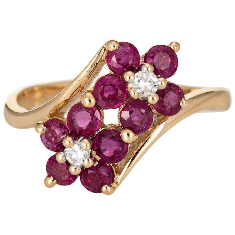 Ruby Diamond Double Flower Ring Moi et Toi 14 Karat Yellow Gold Vintage Jewelry For Sale