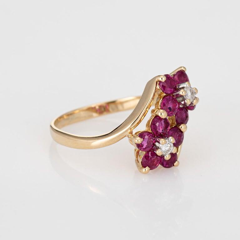 Modern Ruby Diamond Double Flower Ring Moi et Toi 14 Karat Yellow Gold Vintage Jewelry For Sale