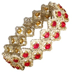 Ruby Diamond Double Row Two-Tone Gold Bracelet