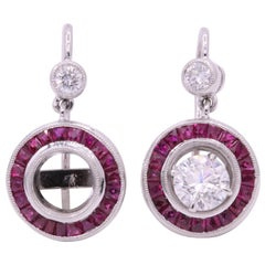 Ruby Diamond Drop Earrings 1.68 Carats Platinum
