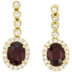 Ruby Diamond Drop Earrings 3.46 Carat 18 Karat Yellow Gold
