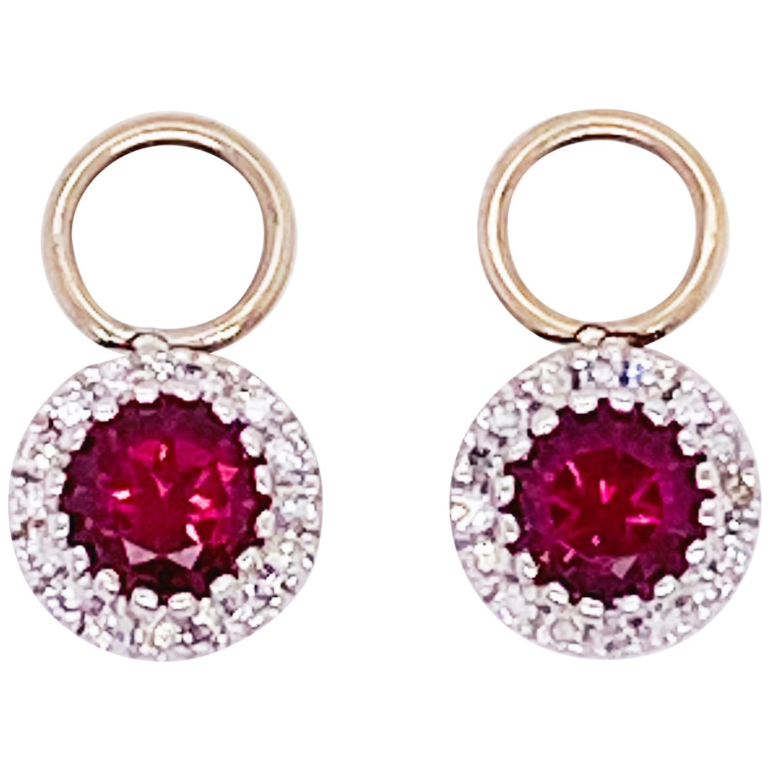 Ruby Diamond Earring Charms Red Ruby, 14 Karat White Gold, Hoop Charm, .79 Carat