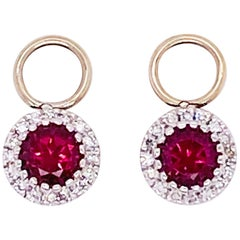 Ruby Diamond Earring Charms Red Ruby, 14 Karat White Gold, Hoop Charm, .79 Carat