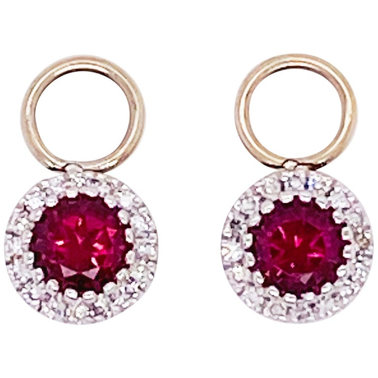 Ruby Diamond Earring Charms Red Ruby, 14 Karat White Gold, Hoop Charm, .79 Carat For Sale