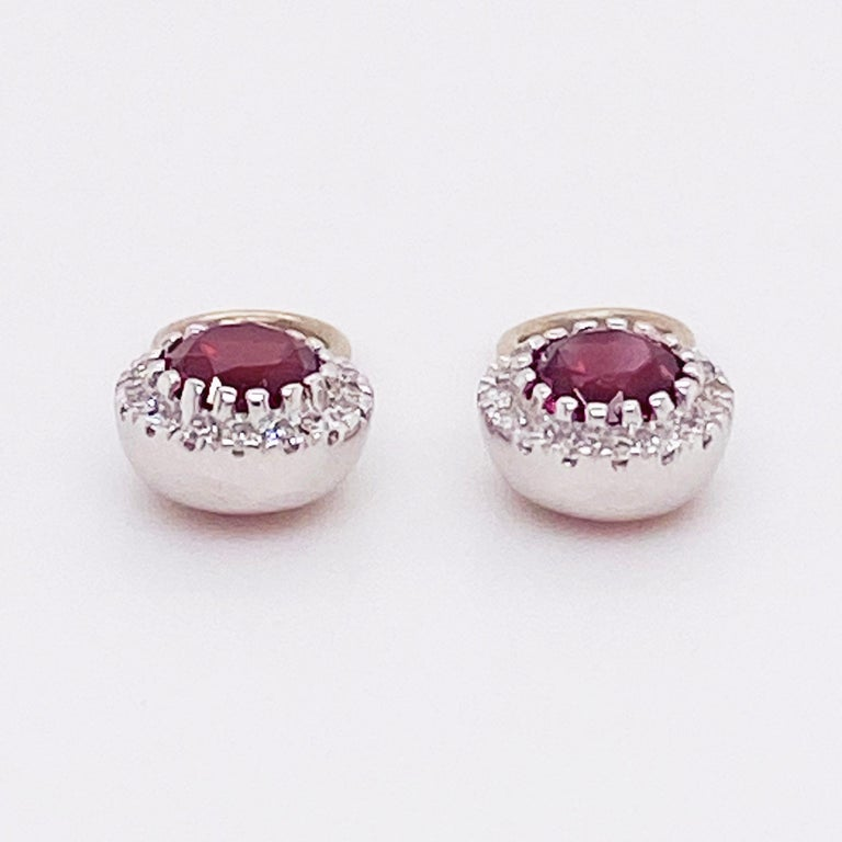 Round Cut Ruby Diamond Earring Charms Red Ruby, 14 Karat White Gold, Hoop Charm, .79 Carat For Sale