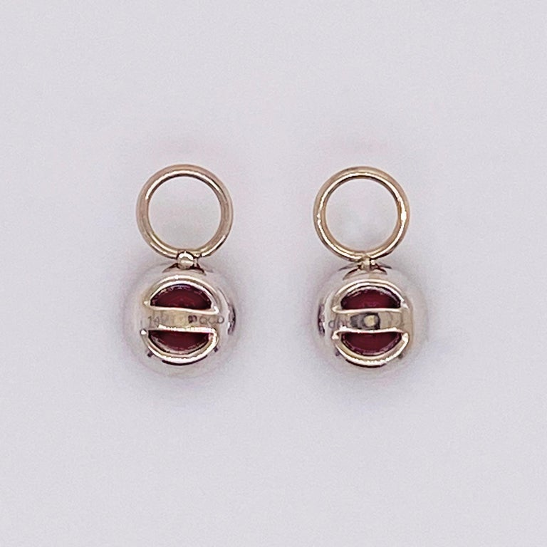 Women's Ruby Diamond Earring Charms Red Ruby, 14 Karat White Gold, Hoop Charm, .79 Carat For Sale