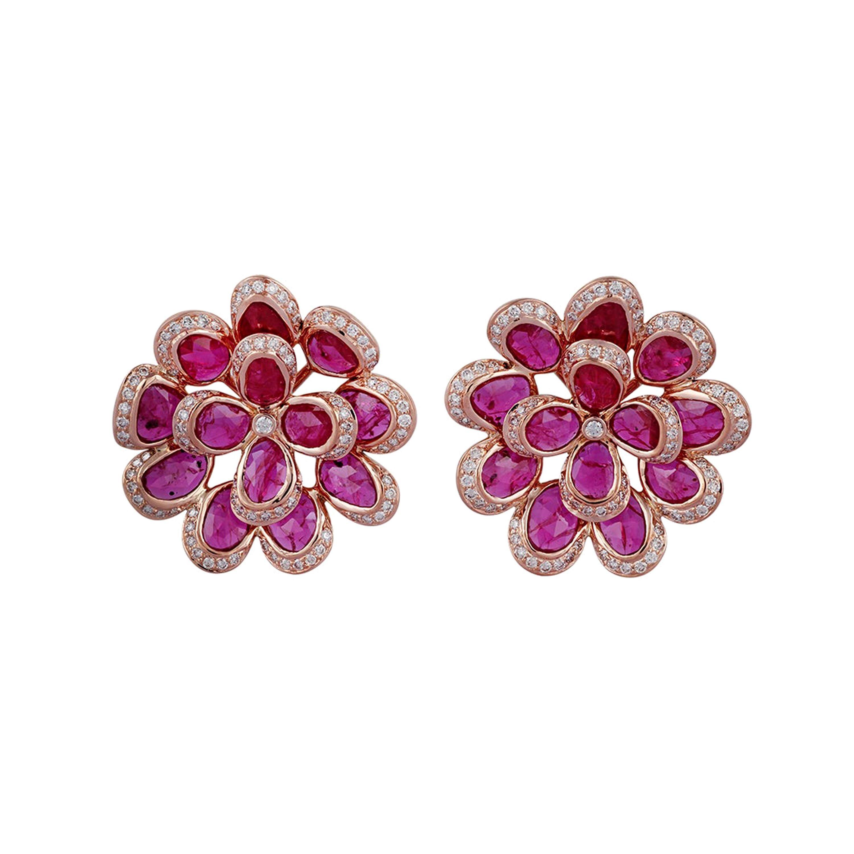 Ruby Diamond Earring in 18 Karat Rose Gold