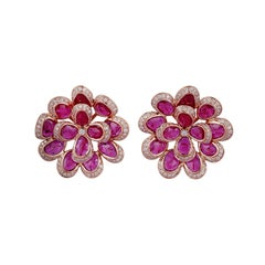Ruby Diamond Earring in 18 Karat Rose Gold