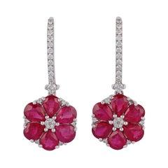 Ruby Diamond Earring in 18 Karat White Gold