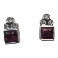 Ruby Diamond Earrings in 18 K