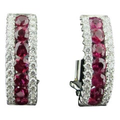 Ruby and Diamond Earrings Set in 18 Karat White Gold