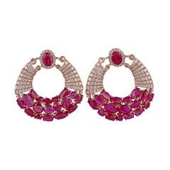 Ruby & Diamond Earrings Studded in 18k Rose Gold