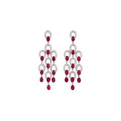 Ruby & Diamond Earrings Studded in 18K White Gold