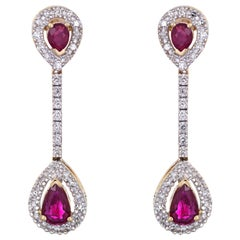 Ruby Diamond Earrings Vintage 14 Karat Gold Linear Drops Pear Shaped Jewelry