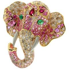 Ruby Diamond Emerald 18 Karat Yellow Gold Elephant Cocktail Ring