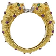 Ruby Diamond Emerald Panther Gold Bracelet