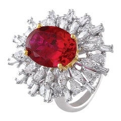 Ruby Diamond Engagement Ring 18 Karat White Gold