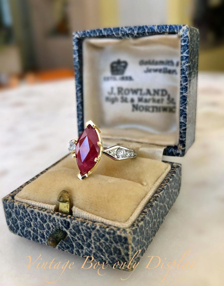 Marquise Cut Marquise Natural Ruby with Diamond Engagement Ring Platinum & 18K For Sale
