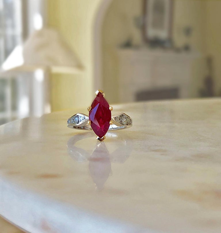 Marquise Natural Ruby with Diamond Engagement Ring Platinum & 18K For Sale 1