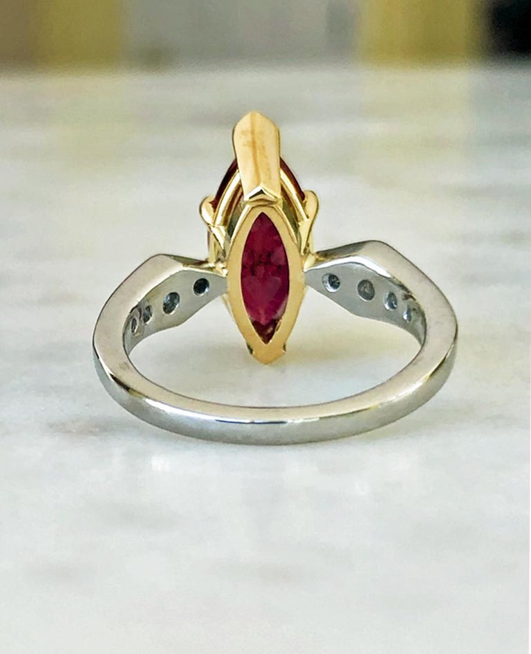 Ruby Engagement Rings For Sale: Ruby Diamond Estate Engagement Ring Platinum And 18 Karat