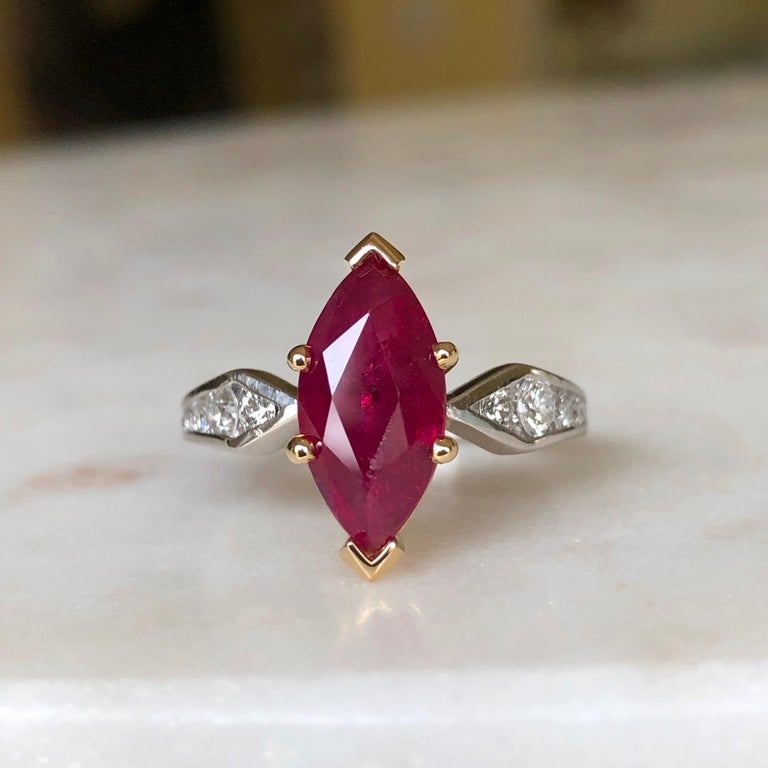 Art Deco Marquise Natural Ruby with Diamond Engagement Ring Platinum & 18K For Sale