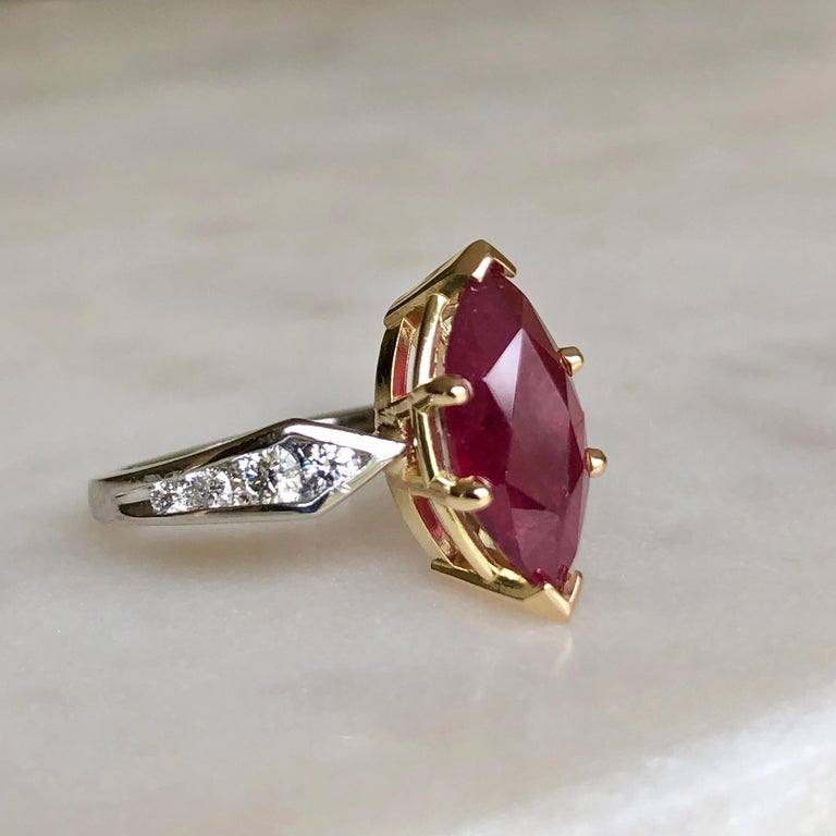Marquise Natural Ruby with Diamond Engagement Ring Platinum & 18K In Excellent Condition For Sale In Brunswick, ME